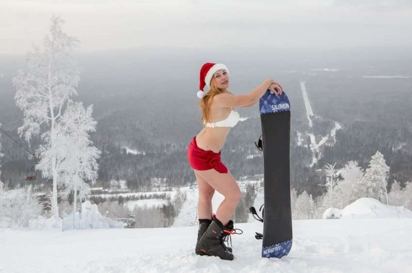 Сноубордистки в нижнем белье
